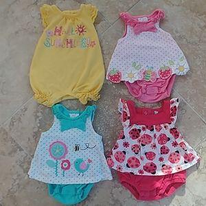 Set of 4 newborn rompers